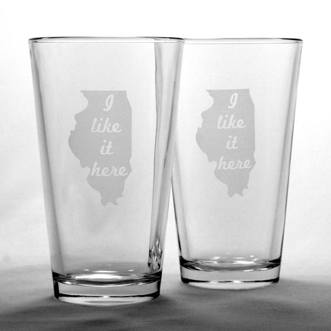 2 Illinois pint beer glasses