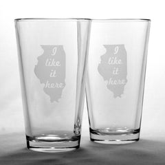 Illinois State Pint Glass - I Like It Here (Retired)