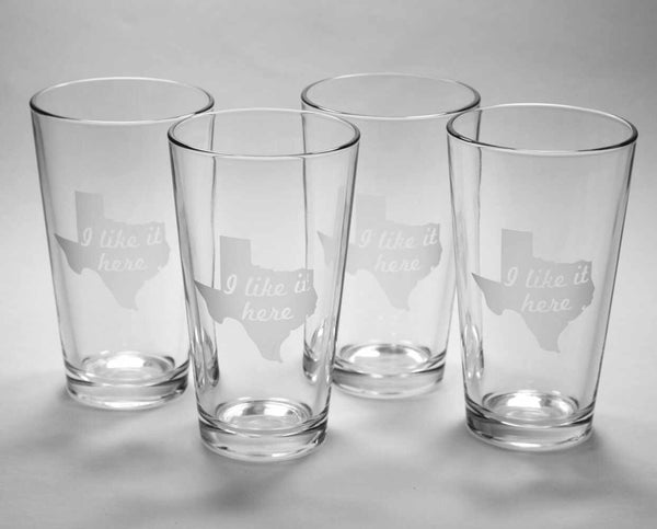 Texas state pint glasses set of 4