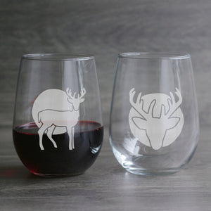 Deer etched wine glasses