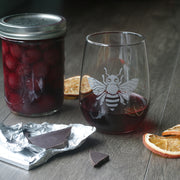 Bee Wine Glass - etched glassware