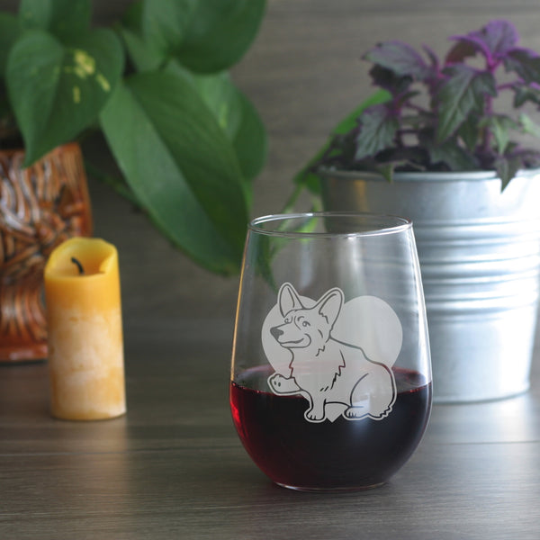 Corgi dog stemless wine glass