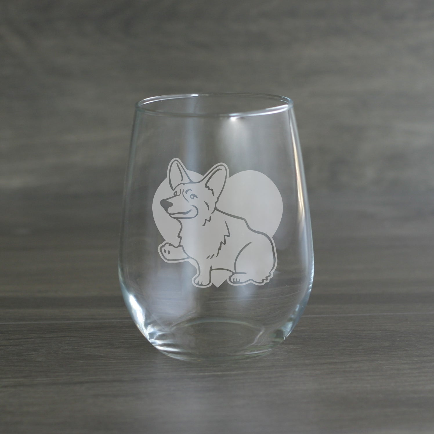Corgi stemless wine glass
