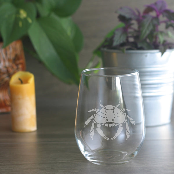Dungeness Crab etched wine glass by Bread and Badger