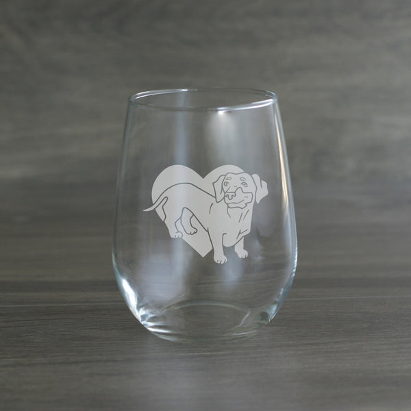 Dachshund stemless wine glass