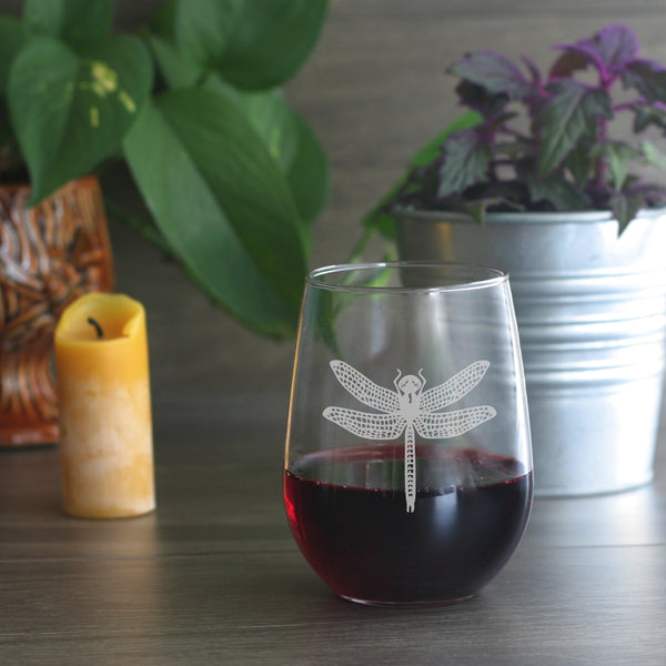 engraved dragonfly stemless wine glasses