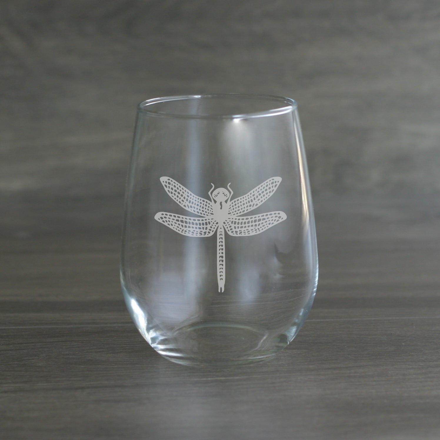 Dragonfly engraved stemless wine glass