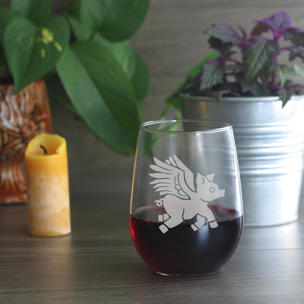 Winged Pig stemless wine glass