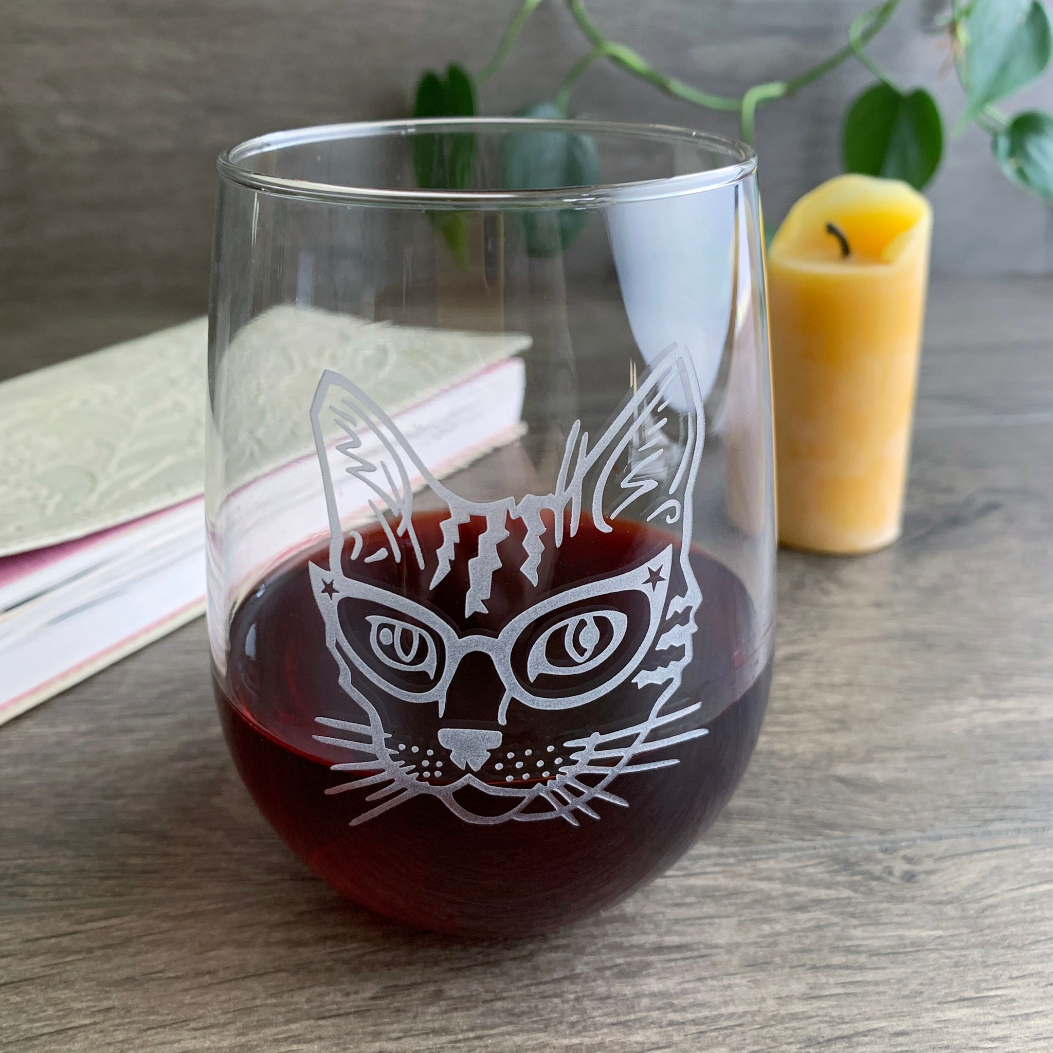 Glasses Cat stemless wine glass by Bread and Badger