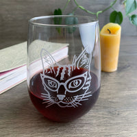 Glasses Cat Stemless Wine Glass
