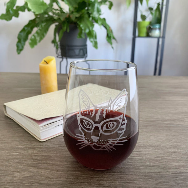 Glasses Cat engraved wine glass by Bread and Badger