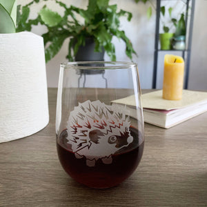 Hedgehog stemless wine glass