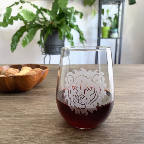 Lion Stemless Wine Glass (LE)