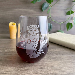 Mermaid Cat stemless wine glass by Bread and Badger