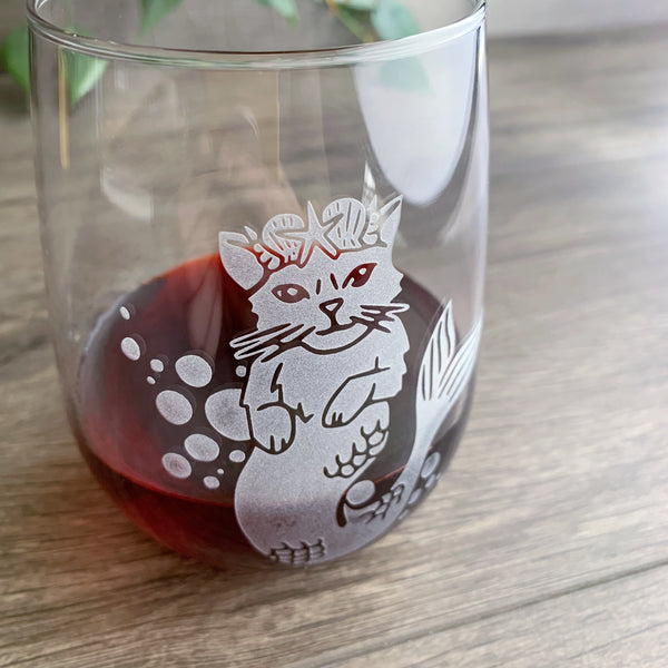 Mermaid Cat etched wine glass by Bread and Badger