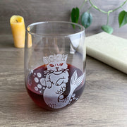 Mermaid Cat Stemless Wine Glass
