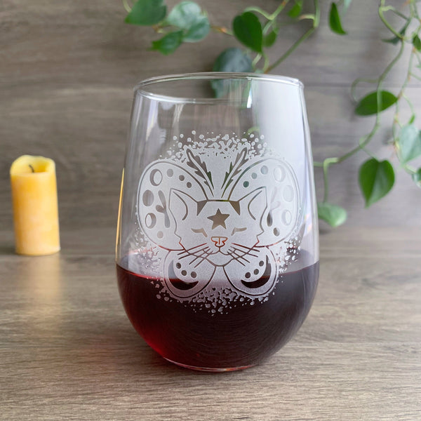Moth Cat engraved stemless wine glass by Bread and Badger