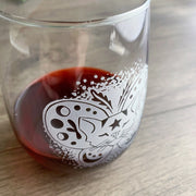 Moth Cat Stemless Wine Glass