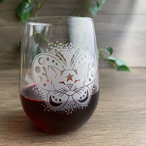 Moth Cat stemless wine glass by Bread and Badger