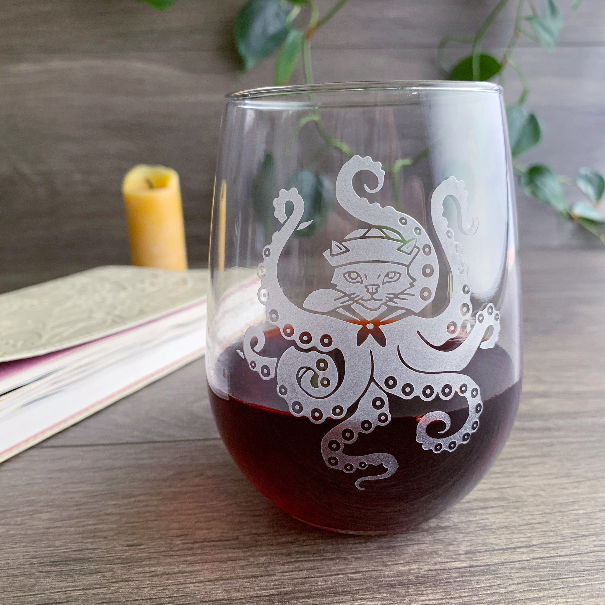 Octopus Cat stemless wine glass by Bread and Badger