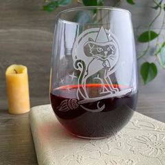 Witch Cat Stemless Wine Glass - etched glassware