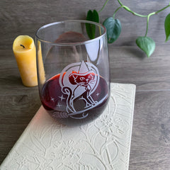 Witch Cat Stemless Wine Glass