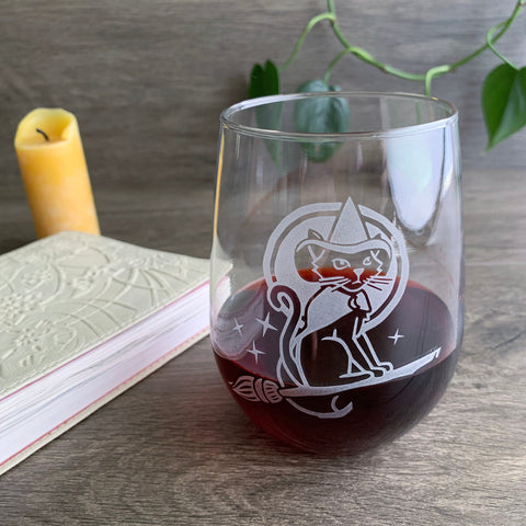 Witch Cat stemless wine glass by Bread and Badger