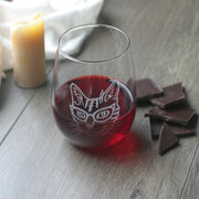 Glasses Cat Stemless Wine Glass - etched glassware