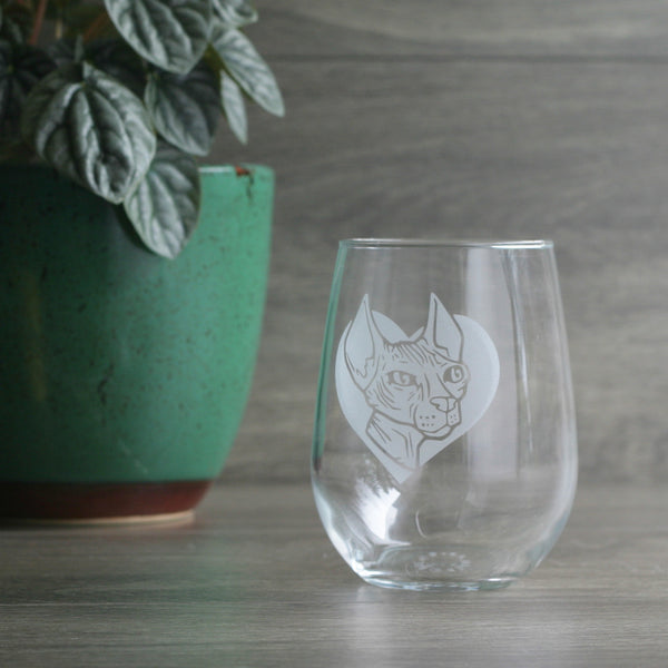 Hairless Sphynx Cat stemless wine glasses