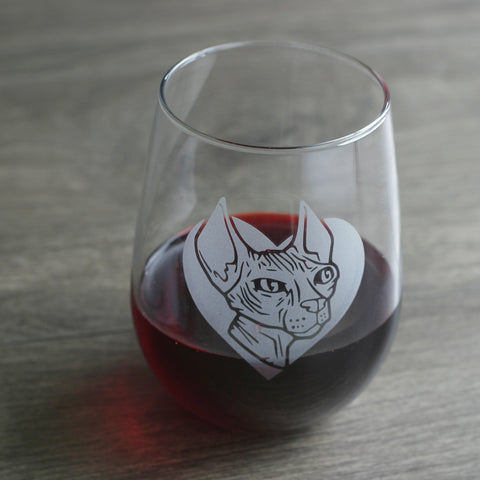 Hairless Sphynx Cat Stemless Wine Glass
