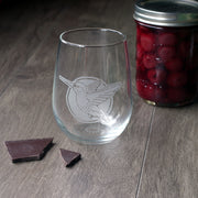 Hummingbird Stemless Wine Glass - etched glassware