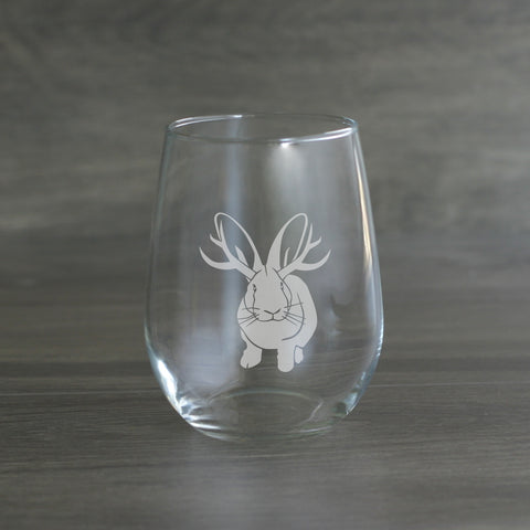Jackalope wine glass