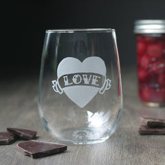 Love Heart Stemless Wine Glass in Old School Tattoo Style