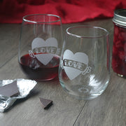 Love Heart Stemless Wine Glass in Old School Tattoo Style - etched glassware