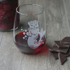 Mermaid Cat Stemless Wine Glass - etched glassware
