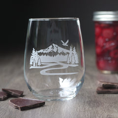 Mount Hood stemless wine glass
