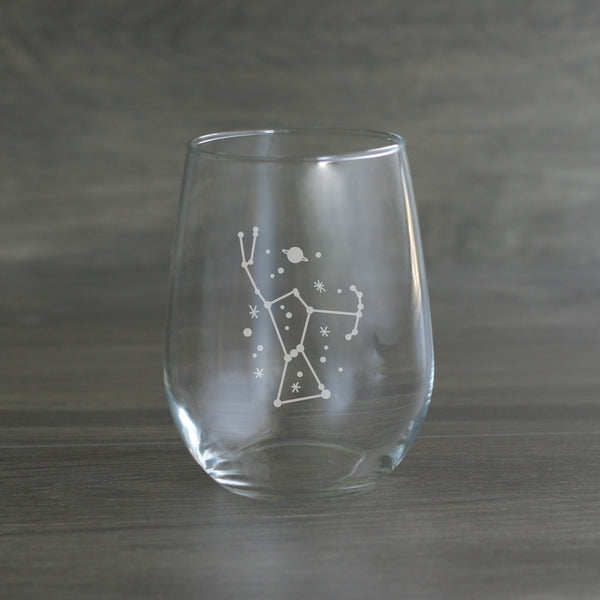 Orion star constellation wine glass