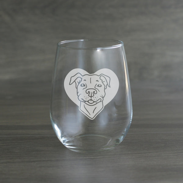 Pit Bull dog stemless wine glass