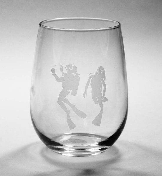 custom scuba diver stemless wine glass