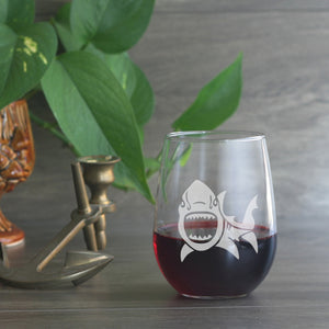 Stemless Shark nautical wine glass