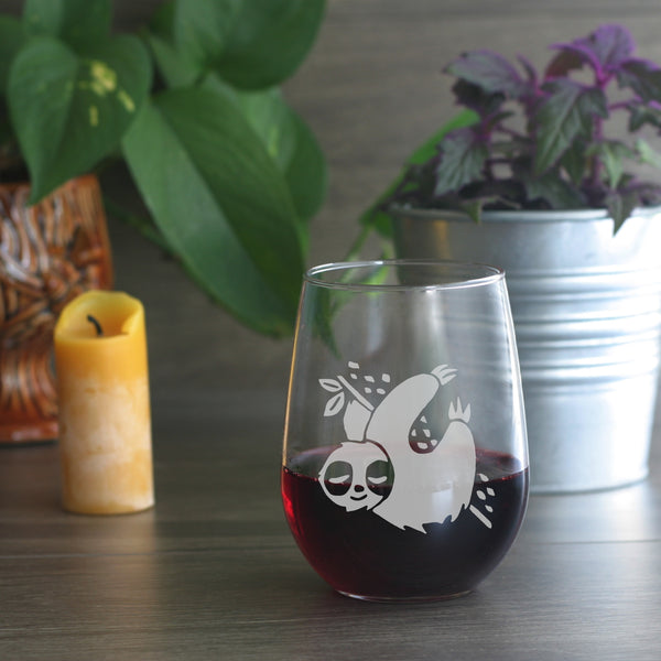 Sloth stemless wine glass