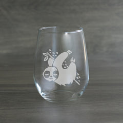 Sloth etched wine glass