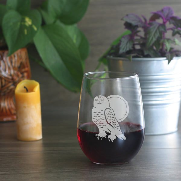 Snowy Owl stemless wine glass