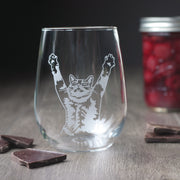 Stretch Cat Stemless Wine Glass