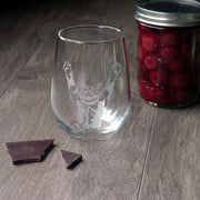 Stretch Cat Stemless Wine Glass - etched glassware