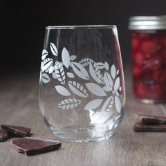 Tea Leaves Plant Wine Glass - etched glassware