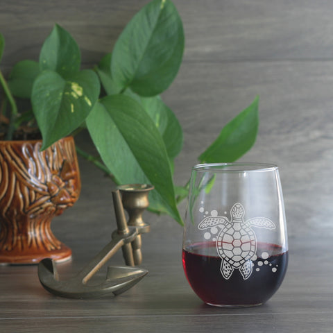 Sea Turtle stemless wine glass by  Bread and Badger