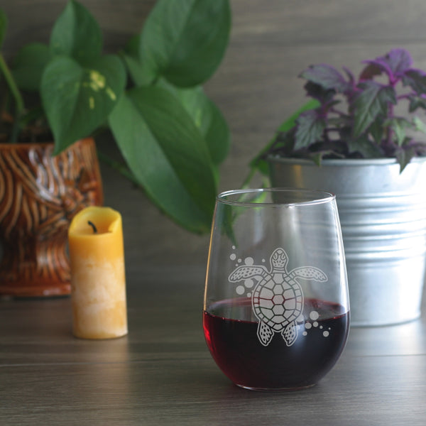 Turtle stemless wine glass by Bread and Badger