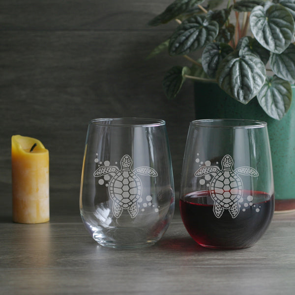 Sea Turtle stemless wine glasses by Bread and Badger