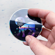 Astronaut Cat Sticker - Rainbow Holographic